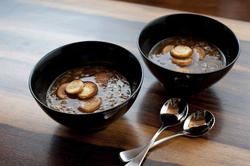 8422   Two bowls of hot french onion soup