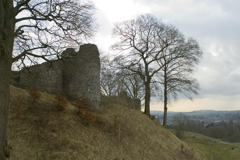 Ruins of Kendal Castle with the elevated fortified remains of the medieval keep and tower in Cumbria