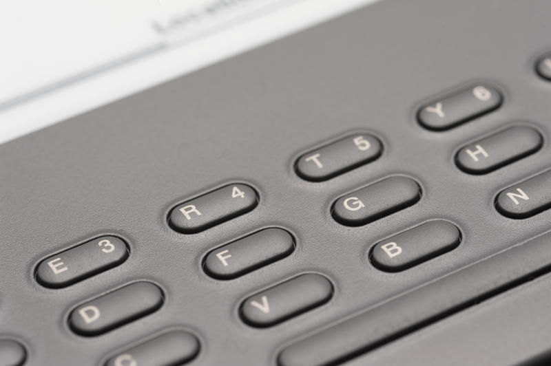 closeup on the keyboard on an e-book reader device