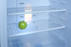 8133   One green apple inside a fridge