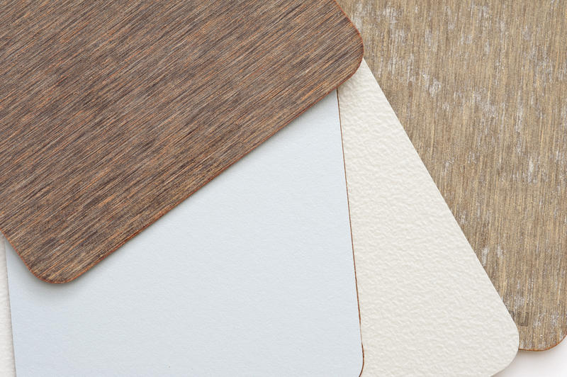 Veneer samples of various wood and finishes for interior decorating and renovation in the home