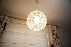 10645   Hand knitted wicker rattan ball pendant light