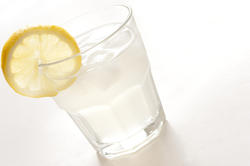 10446   Long glass of clear spirits with lemon