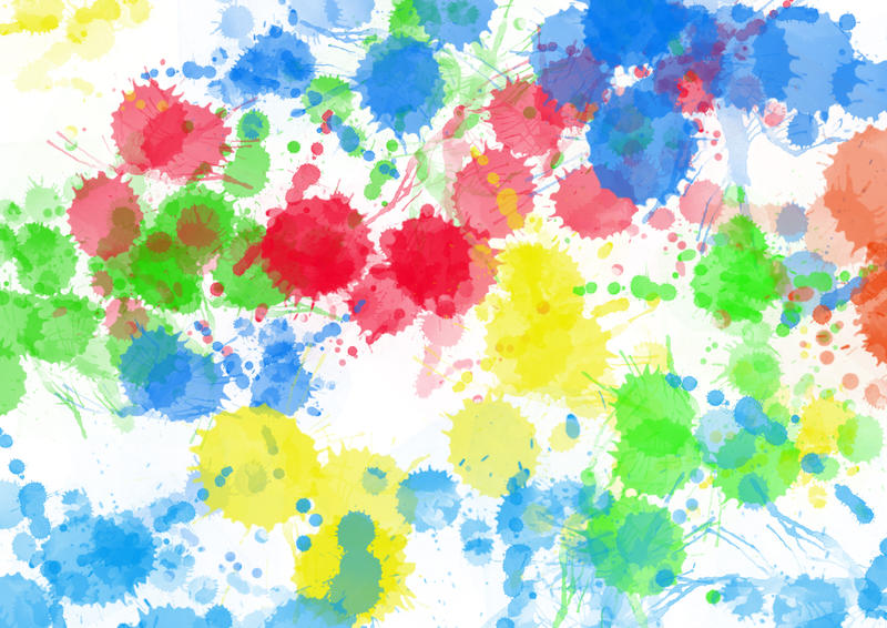 <p>Multi coloured paint splats background texture.</p>