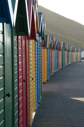 7852   Colourful beach huts, Whitby West Cliff