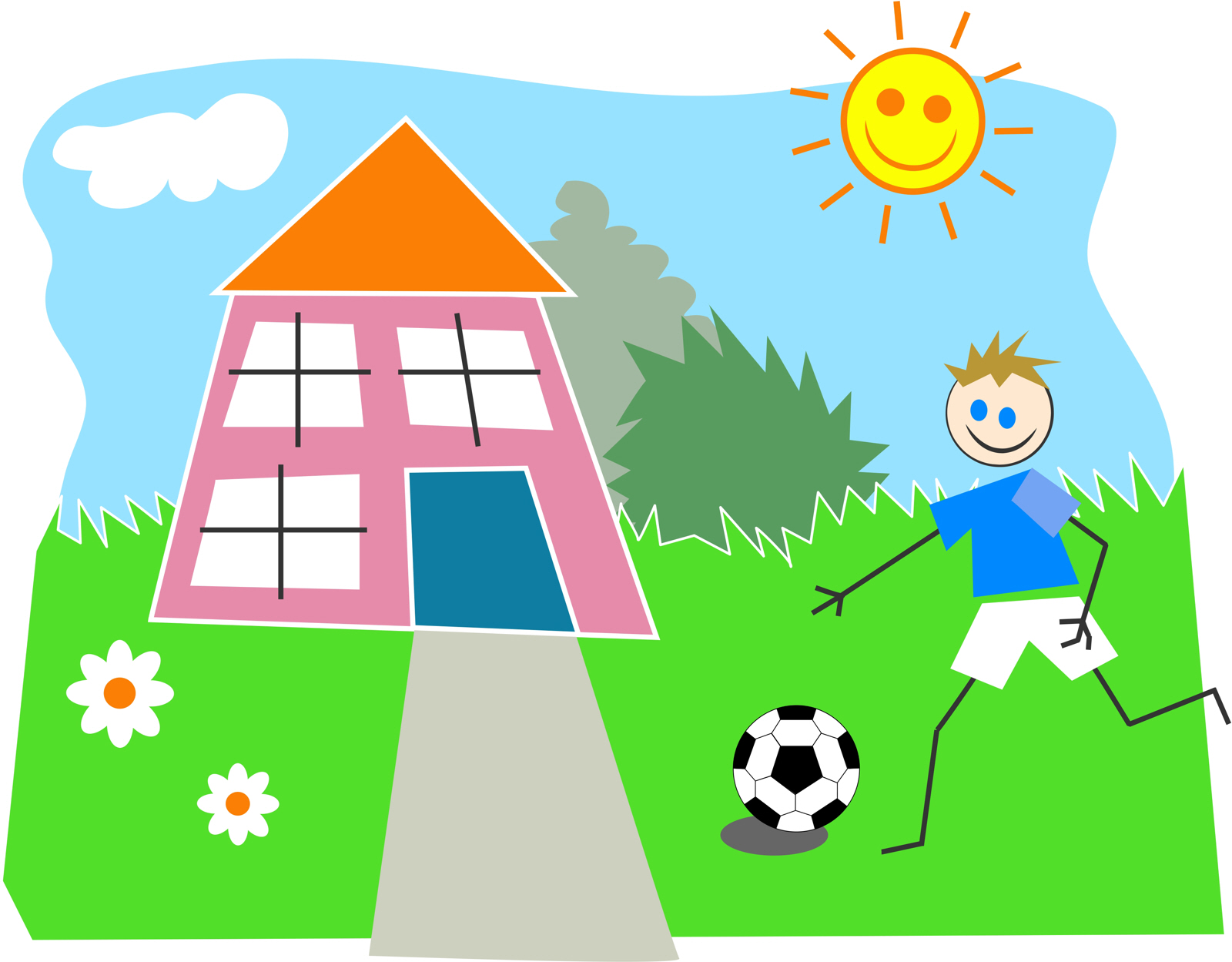 Playing garden drawing for kids -  P Stick Kid Drawing Of A Boy Playing Soccer In His Garden