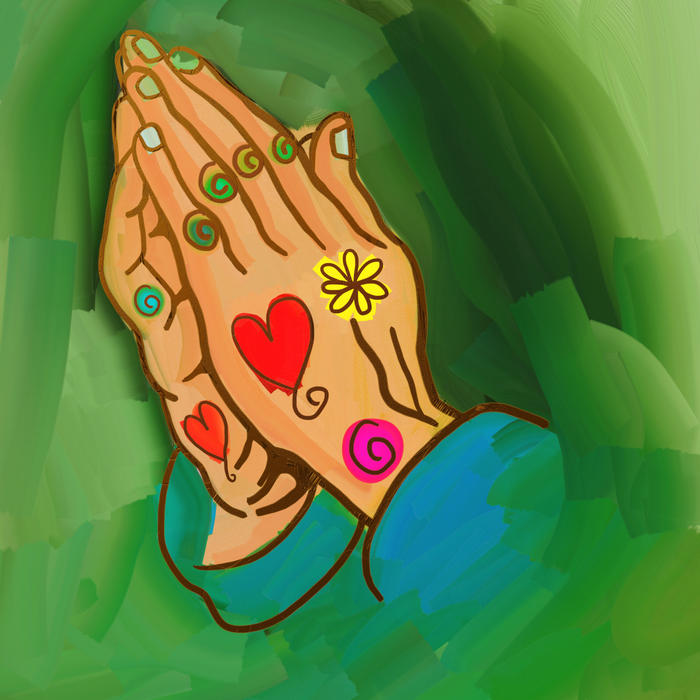 <p>Praying hands whimsical painting.</p>