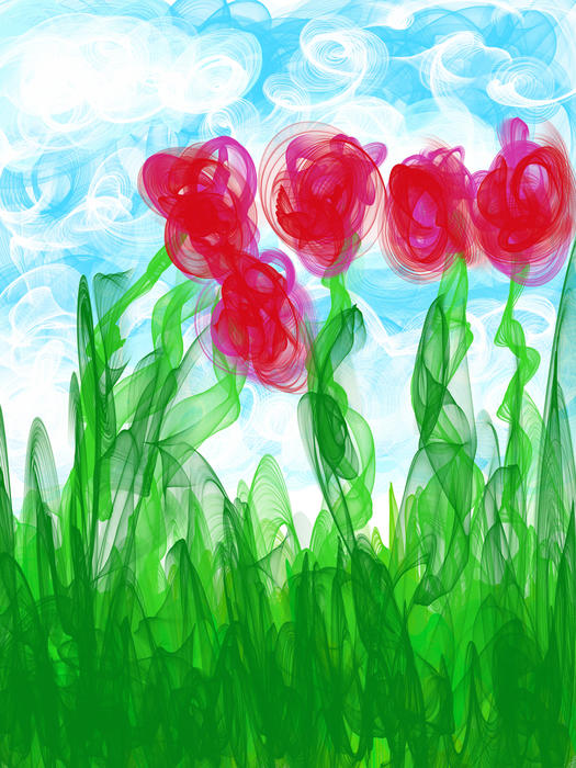 <p>Digital abstract red roses in a field.</p>