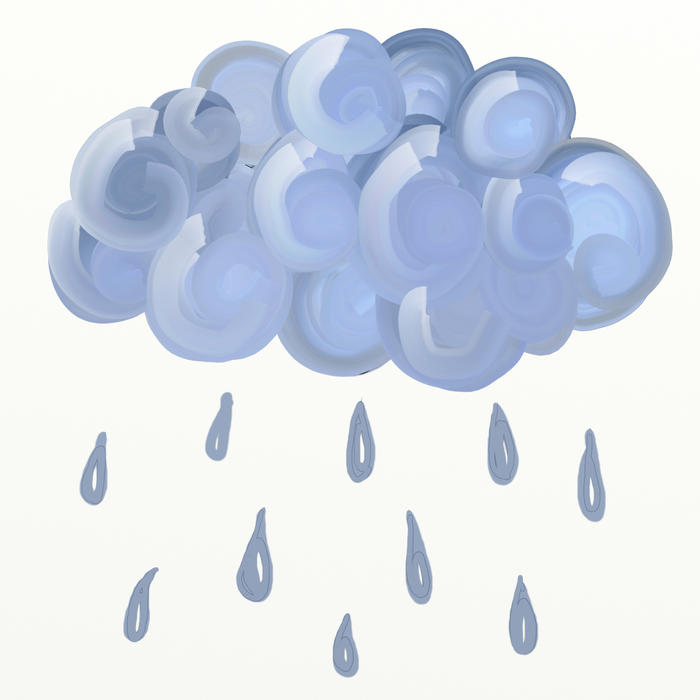 <p>Painted raining cloud clip art illustration.</p>