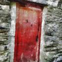 9046   red wooden door painting