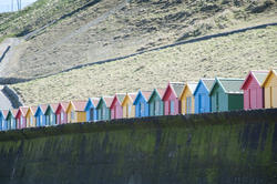 7854   Colorful Beach huts and Whitby sands