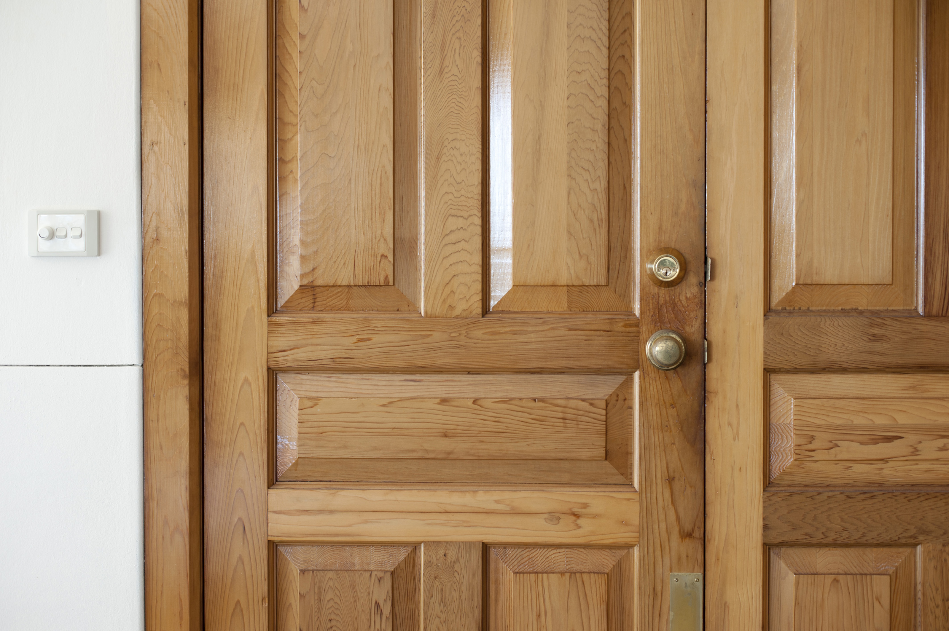 Free stock photo 10647 closed double front door with for Natural wood front door