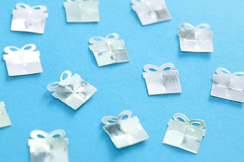 11479   Festive background of silver gifts on blue