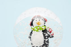 8672   Penguin in snowflakes floating in a snow globe