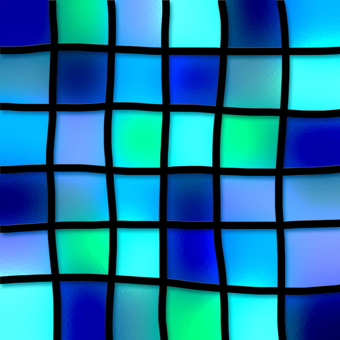 <p>Stained glass blue tiles.</p>
