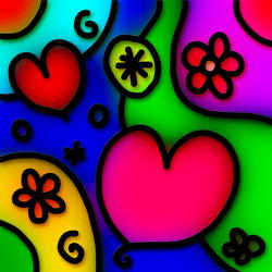 9651   stained glass hearts whimsy