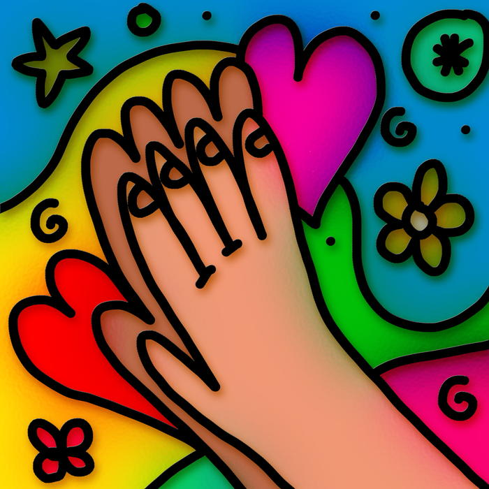 <p>Stained glass praying hands illustration.</p>