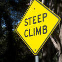 stock image 10769   Yellow Steep Climb Sign with Metal Bar Stand