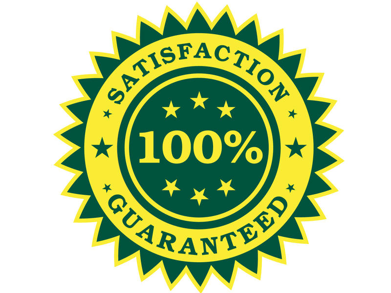 100% satisfaction guaranteed sticker by freeimageslive / Vectorportal is licensed under a Creative Commons Attribution 3.0 Unported License.