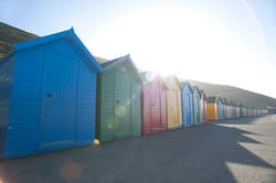 8049   Brightly coloured beach huts, Whitby West Cliff