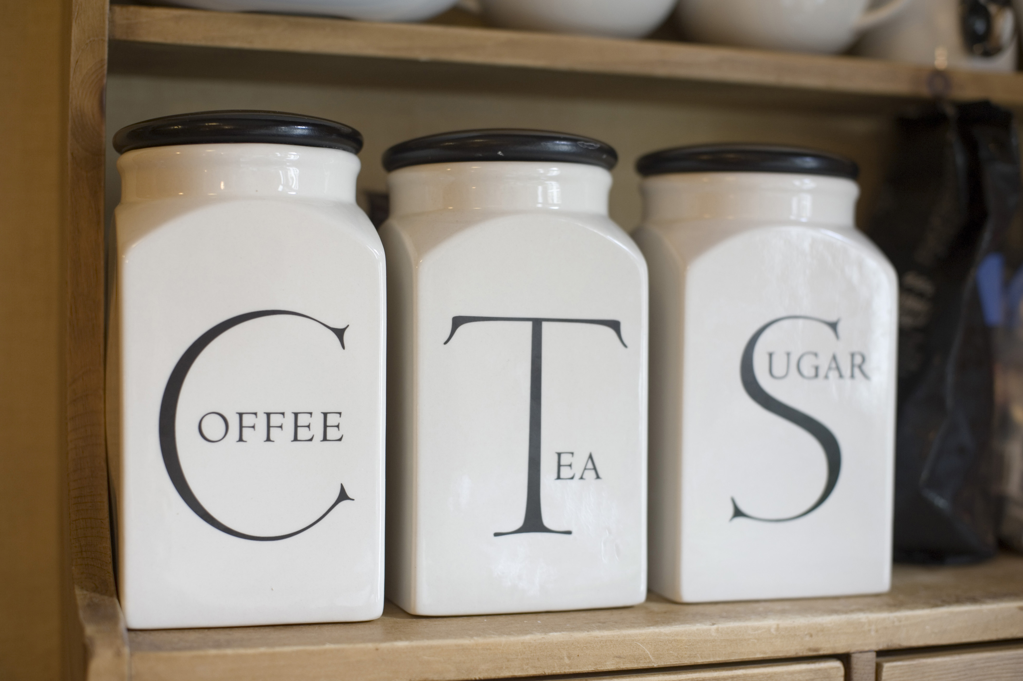 Free Stock Photo 11625 Set Of Labelled Jars For Tea Sugar