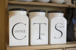 11625   Set of labelled jars for tea, sugar and coffee