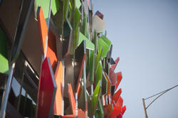 8730   Colourful panels on an external building facade