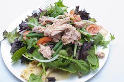 8431   Healthy nicoise salad topped with tuna