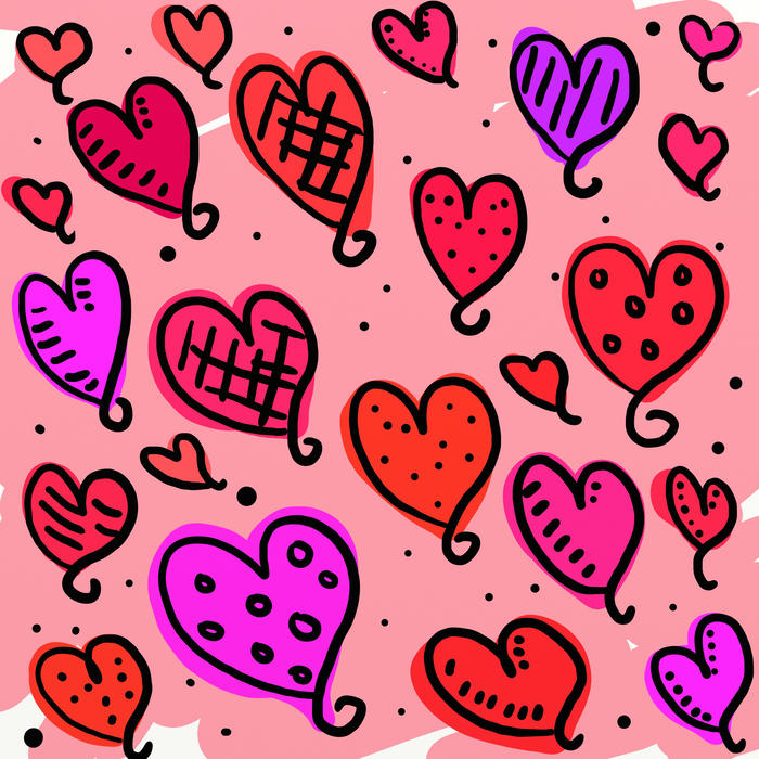 <p>Whimsical pink love heart valentine wallpaper.</p>