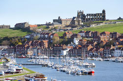 7859   Whitby upper harbour and abbey ruins