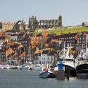 7862   Whitby upper harbour and abbey ruins
