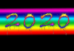 17211   2020 New Year date on a rainbow colored background