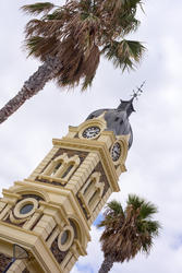 17002   Tilted angle view of the clock tower in Glenelg