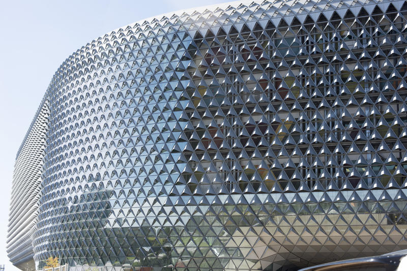 The exterior of the modern SAHMRI building, or South Australia Health and Medical Research Institute, in Adelaide, Australia on the North Terrace