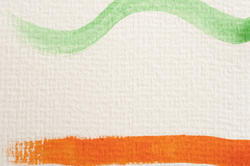 12127   Green and orange paint strokes on canvas paper