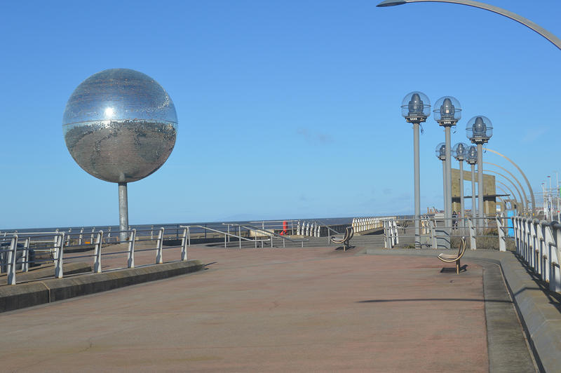 <p><strong>Giant Disco Glitter Ball</strong> on Blackpool Prom in Lancashire UK</p>