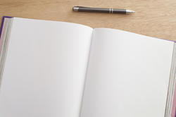 12725   Double spread open blank pages in a journal