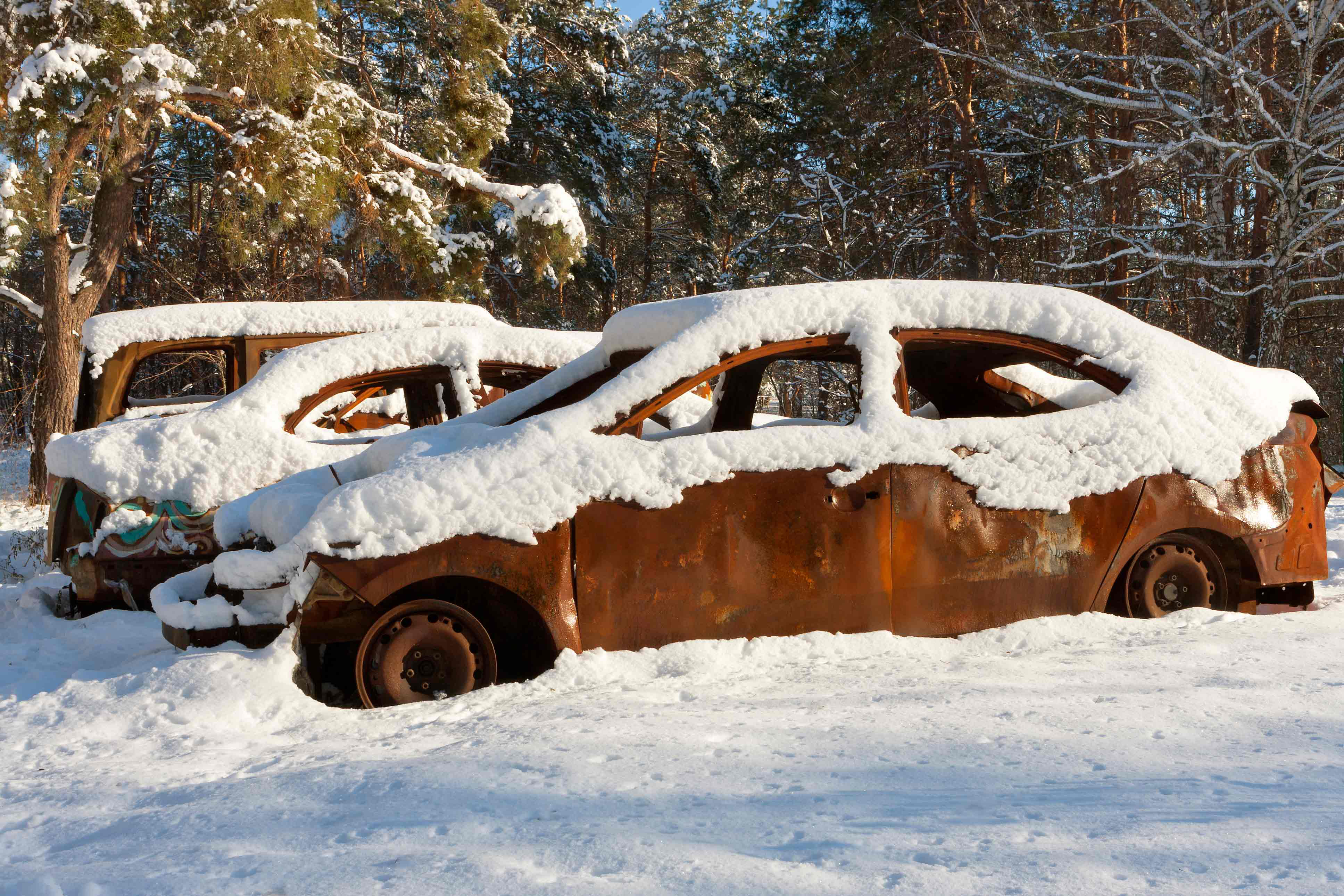 Car Covered In Snow : Free stock photo burnt out cars covered in snow