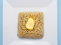 12259   white square bowl with crumpet