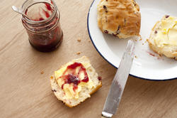 12314   Buttered scone with strawberry jam
