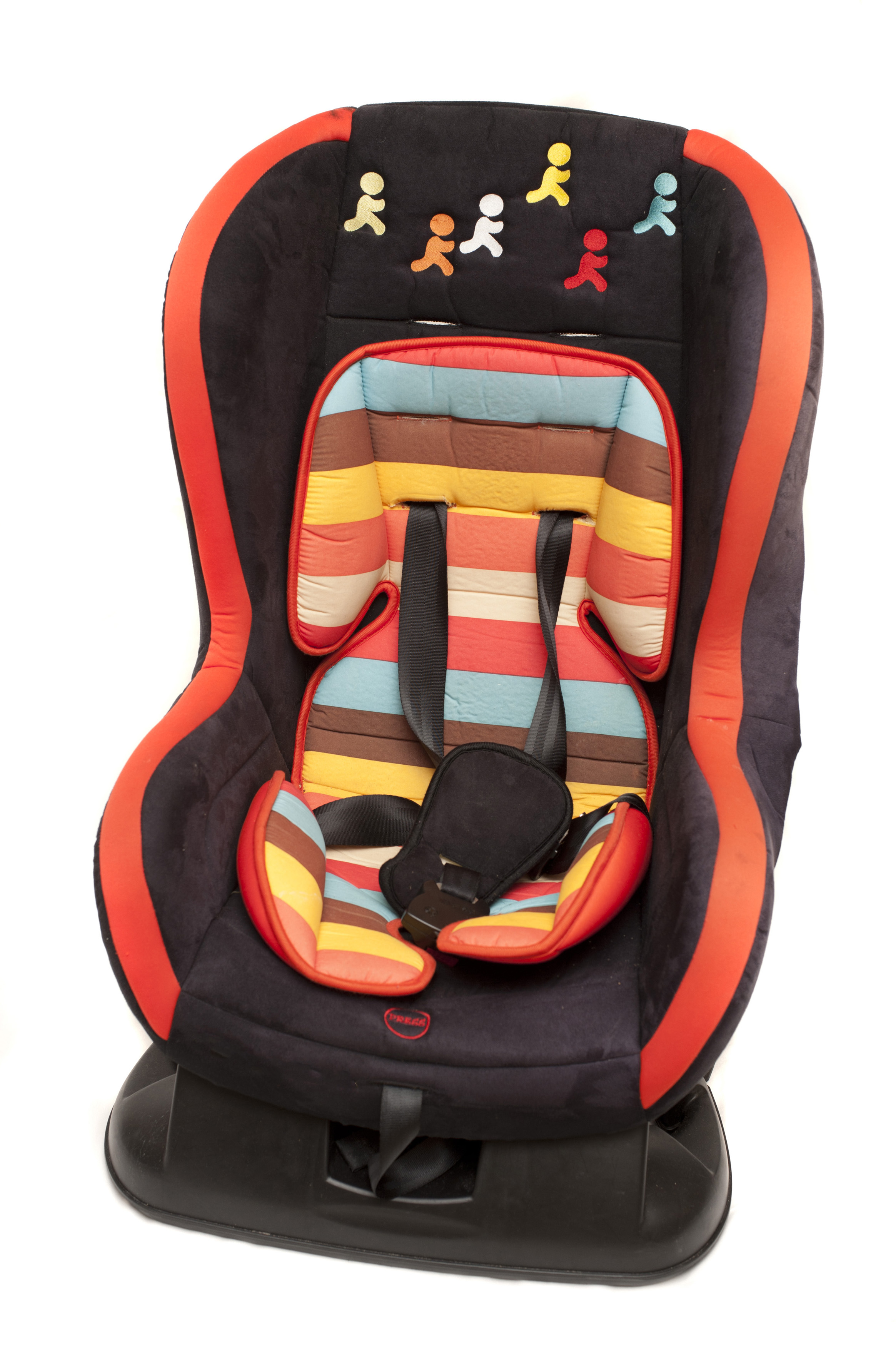 Colorful Baby Safety Car Seat For A Young Child Decorated With Striped Fabric And Little Running