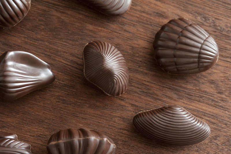 Delicious seashell shaped chocolate truffles snacks spread out evenly over dark wooden table