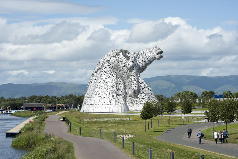 Landscape view of the Kelpies, Falkirk, Scotland a sculpture depicting two horse heads and a popular tourist attraction
