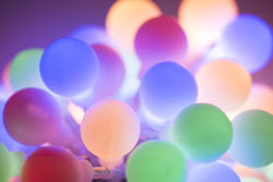 13121   Colorful cluster of round pastel Christmas lights