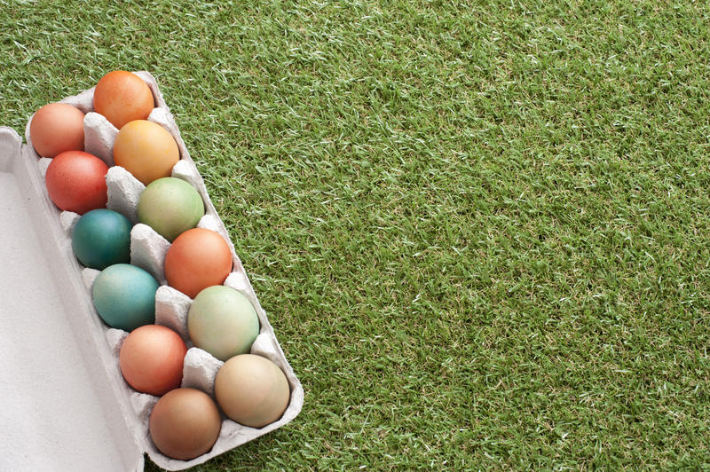 Box of dozen dyed Easter eggs of different colors on green grass loan background with copy space