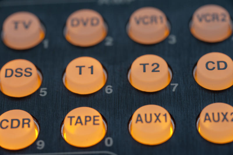Yellow audio source control buttons with illumination, close-up full frame image