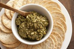 12751   Basil pesto cheese dip in bowl
