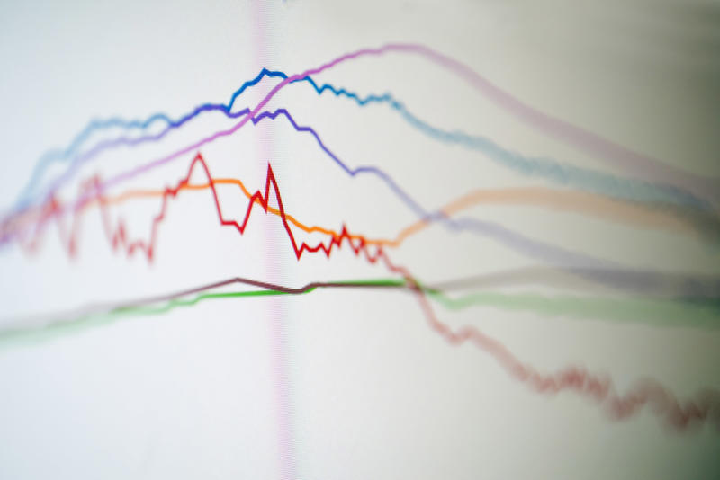Data acquisition colored graphs close-up in selective focus image