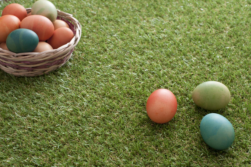 Wicker basket with colorful dyed Easter eggs with several eggs laying on green grass loan. Copy space