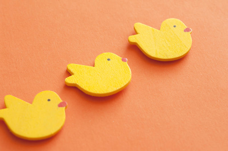 Background of colorful yellow Easter chicks arranged in a diagonal line on an orange background with copy space